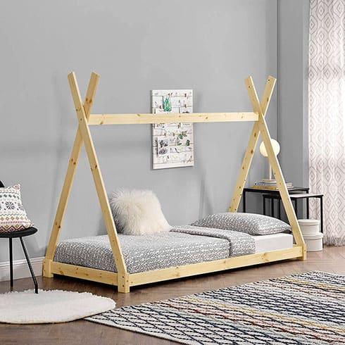 cama para niños Montessori con forma de tipi