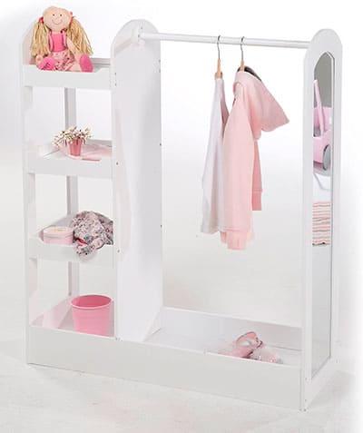 Armario infantil blanco con estantes y espejo