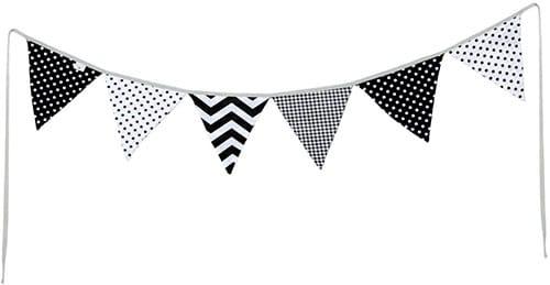 Guirnalda de banderolas negro y blanco