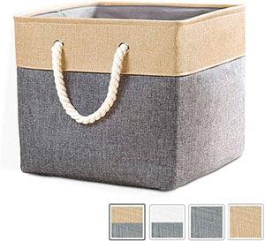 caja cubo con asas de cuerda