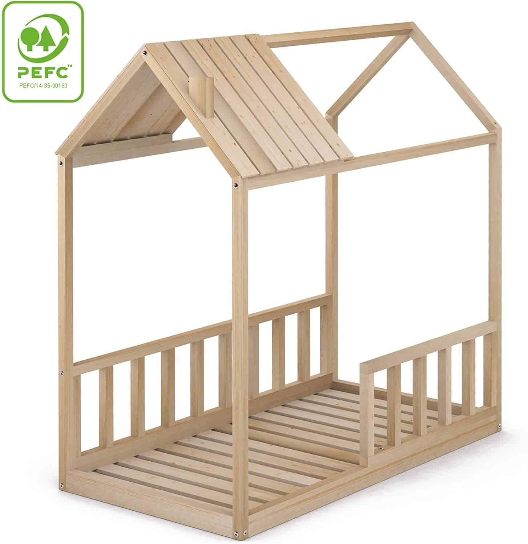 camita con forma de casita con tejado movible