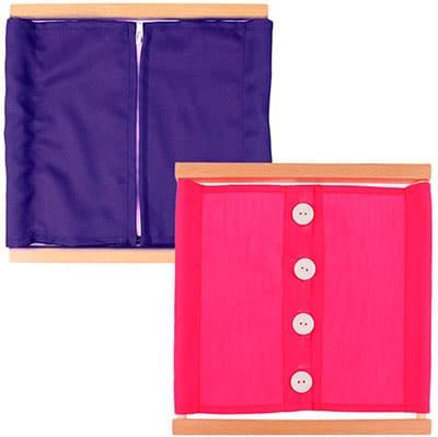 Soportes de madera con telas de colores para abrir y cerrar con diferentes opciones