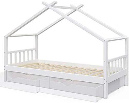 cama casita Montessori con cajones y almacenamiento