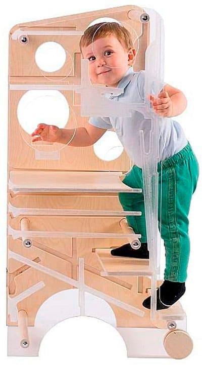 Torre de aprendizaje con mesa de actividades, silla, tobogán y pizarra magnética