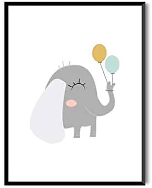 Cuadro de elefante y globos