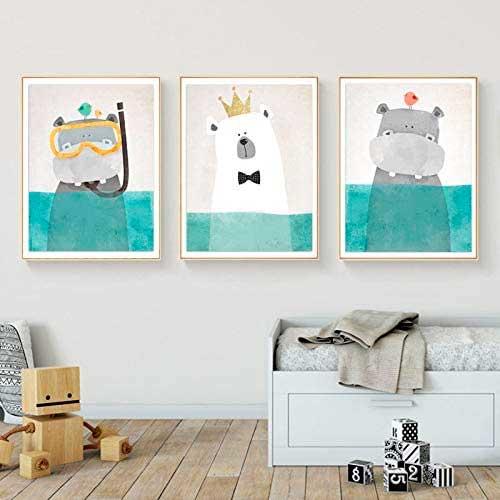 Tres dibujos de animales en el agua