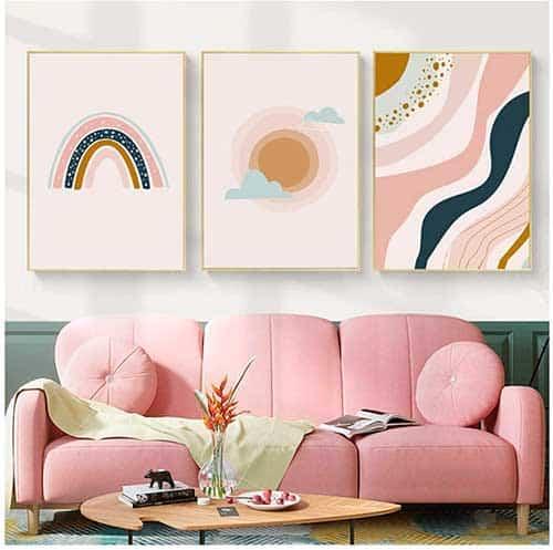 Cuadros abstractos de arcoíris y sol en colores rosas y azules