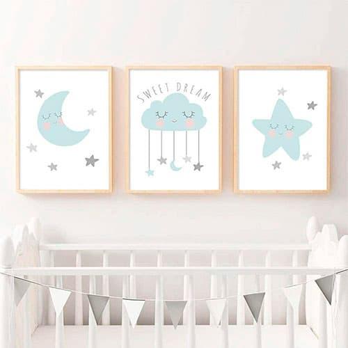 Tres imágenes para la habitación de un niño o una niña