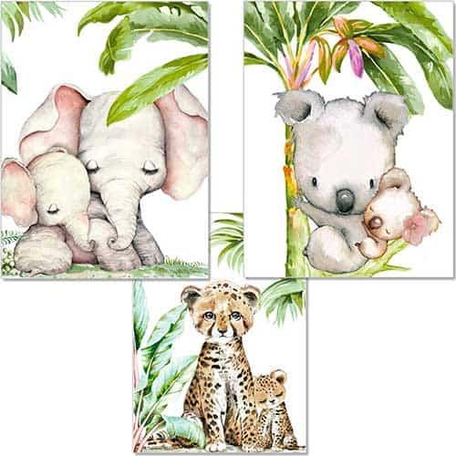 Cuadros con animales de la selva predominando los tonos verdes