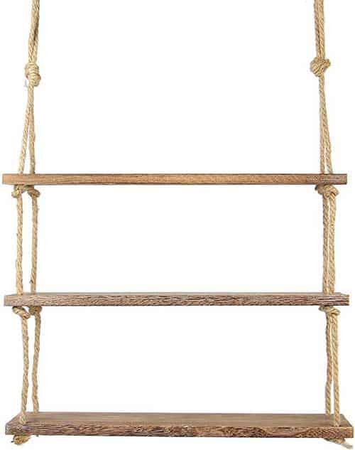 Estante colgante de tres baldas de madera