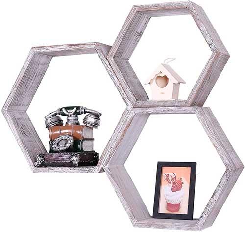 Elementos en forma de hexágono para colgar en la pared
