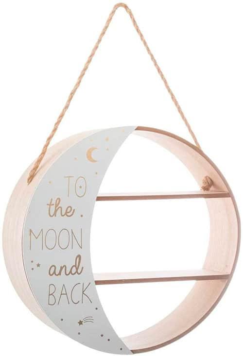Elemento para colgar en forma de luna llena con baldas