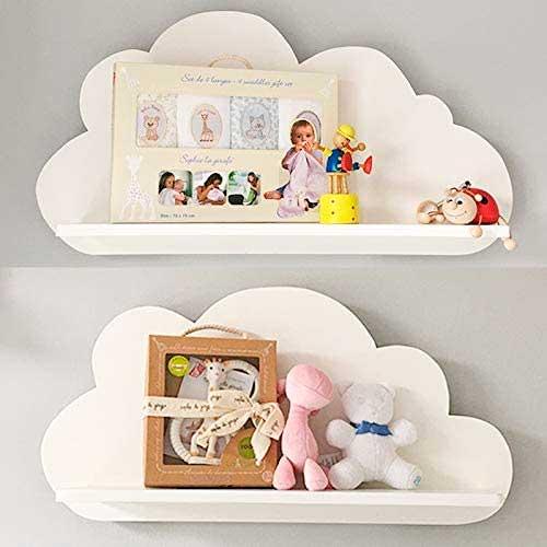 Dos estantes con forma de nube de color blanco