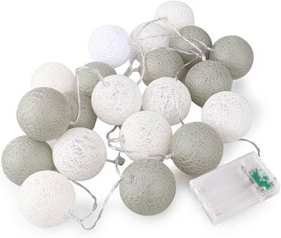 Guirnalda de bolas de color gris y blanco