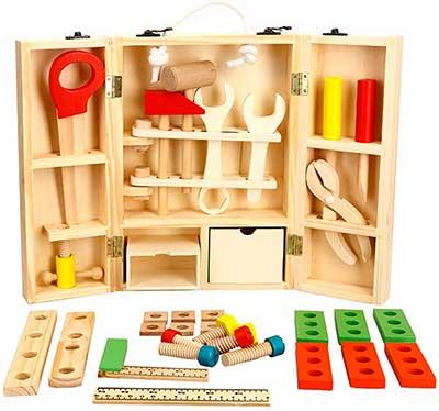 Maleta con juguetes de construcción