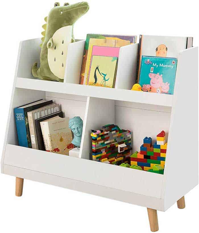 librería blanca para niños