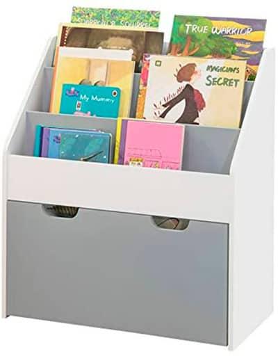biblioteca para cuentos con cajones gris