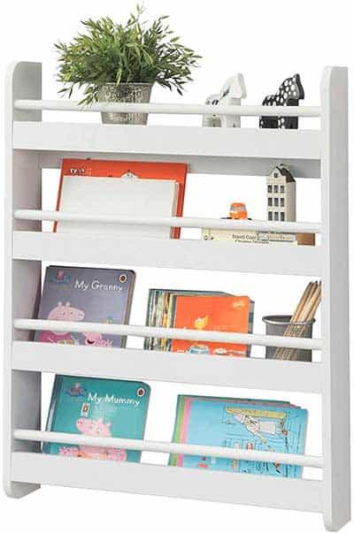librería blanca recta alta