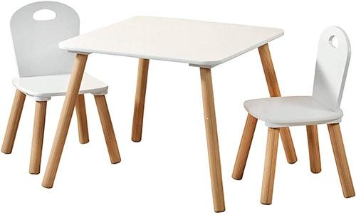 conjunto de mesa y sillas para niños blancas y cuadradas