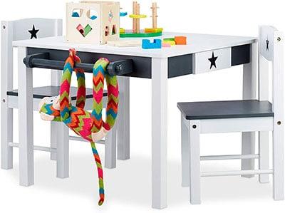 mesa con almacenamiento infantil