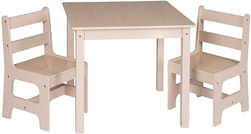 conjunto de mesas y sillas para niños color madera