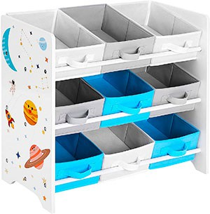 mueble para ordenar juguetes en cajas de tela