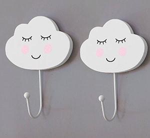 Colgador gancho para niños con forma de nubes