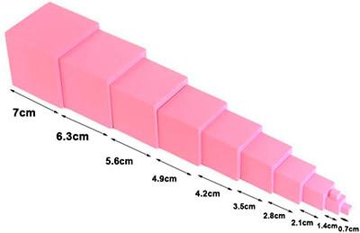 Torre rosa Montessori material autocorregible