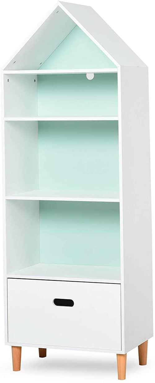 mueble estantería infantil alto blanco con forma de torre