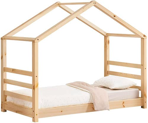 cama casita montessori con escaleras