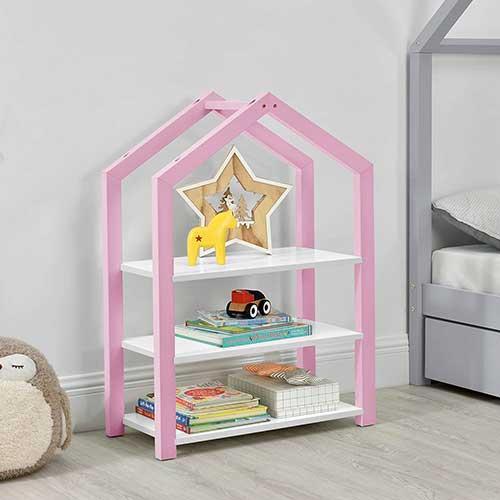 estanteria casita rosa