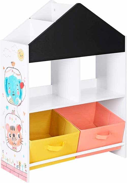 mueble de juguetes con pizarra