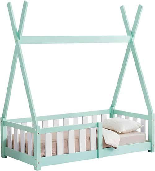 cama tipi Montessori color verde