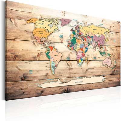 mapa del mundo decorativo en corcho
